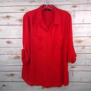 APT 9 XL Sheer red blouse adjustable sleeves EUC